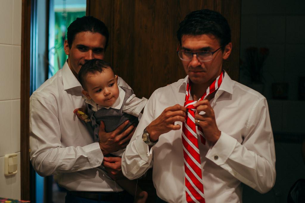 groom on the wedding preparation