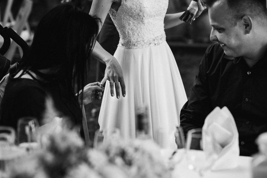bride showing wedding ring girona wedding venue