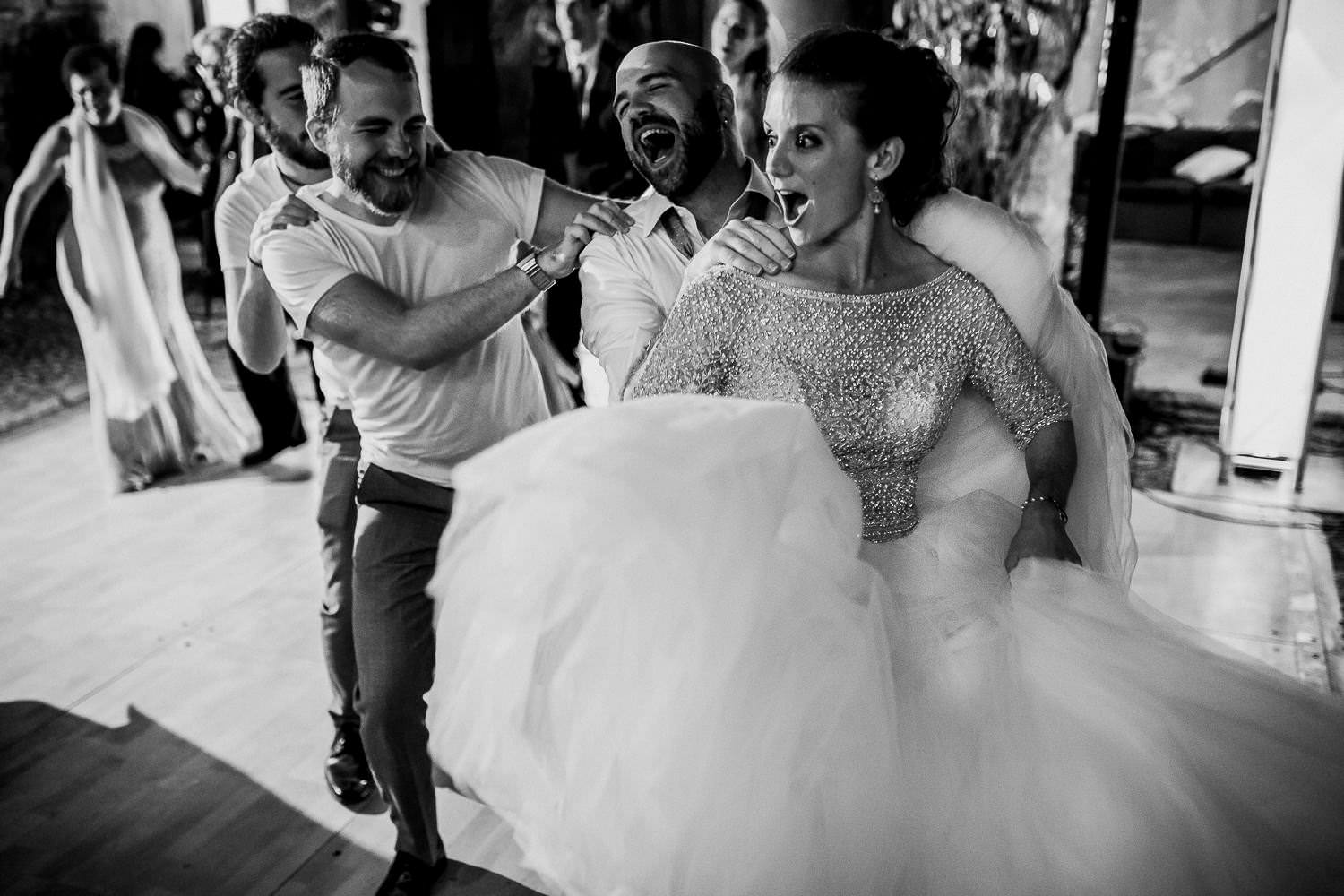 fun and crazy wedding party moment Sitges photo wedding