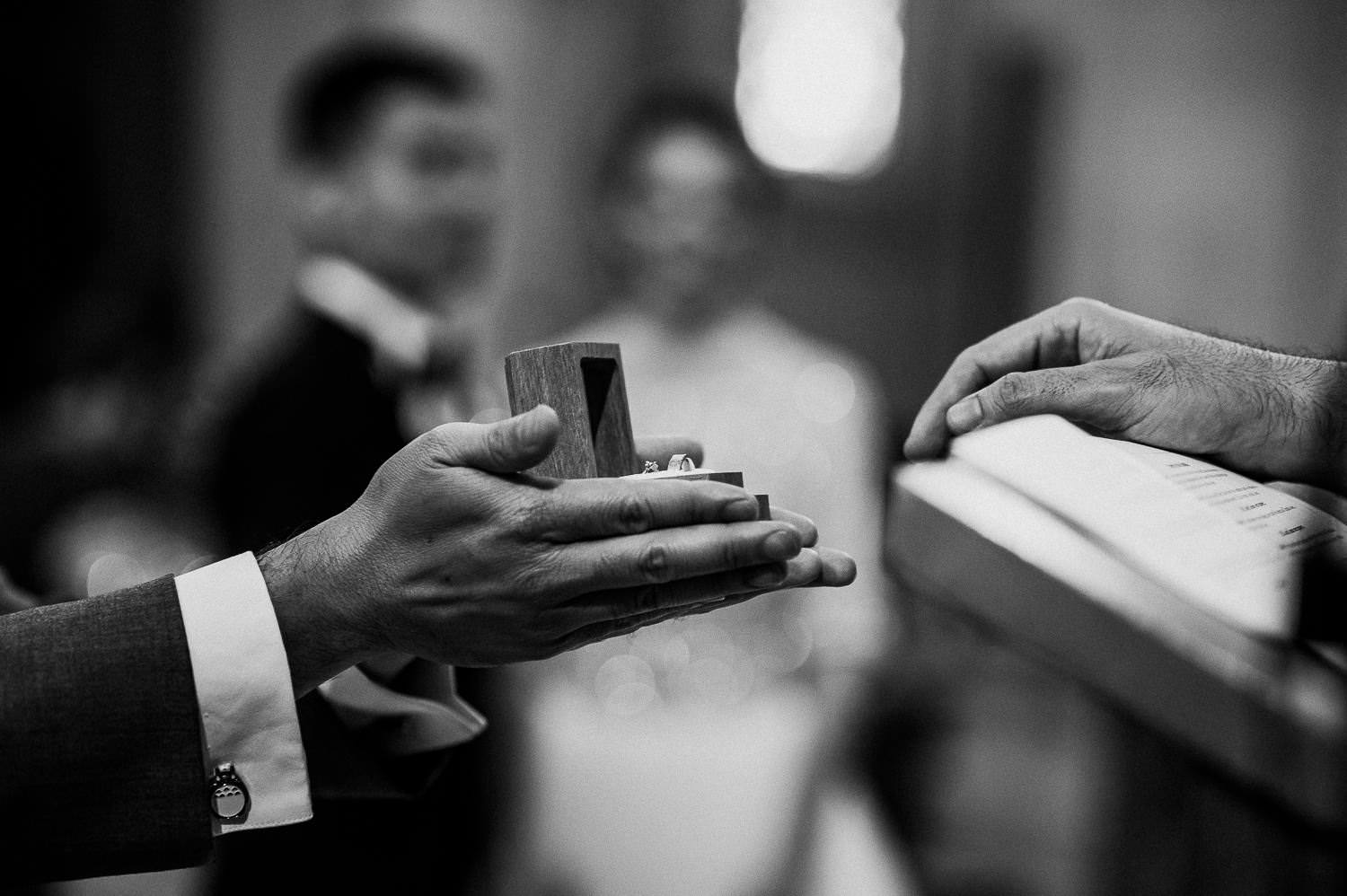 beautiful documentary photo of the wedding rings tibidabo church