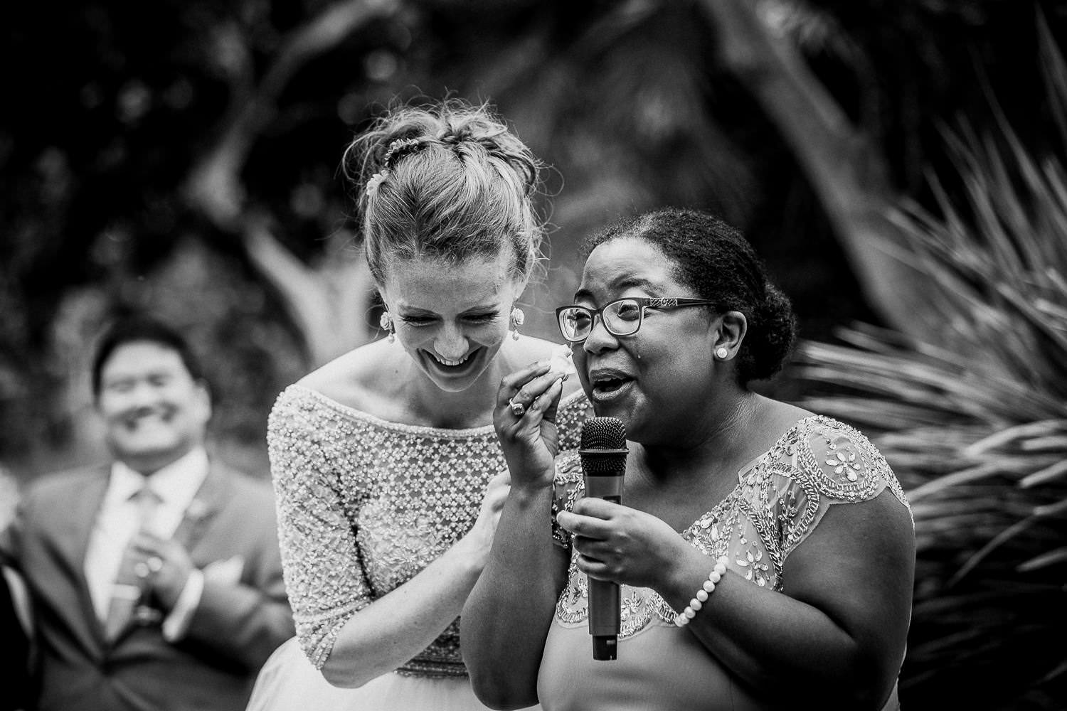 beautiful moment captured bridesmaid on her wedding reception speech