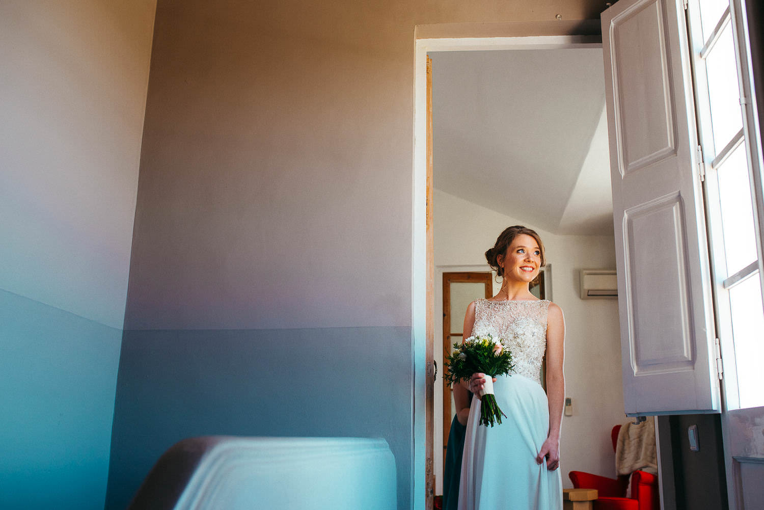 bride ready for the wedding ceremony sitges