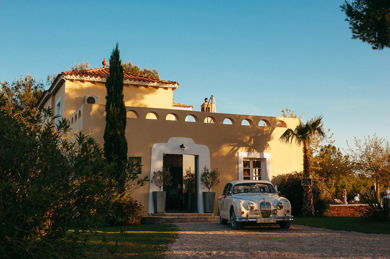 just married car at vila casanova sitges