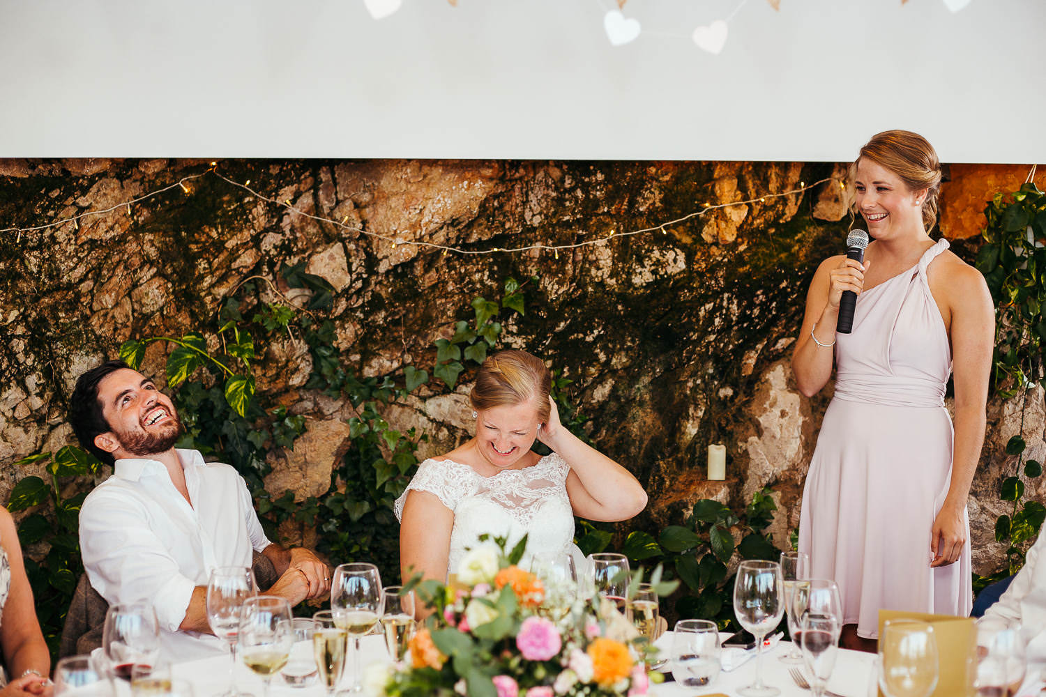 just married couple laughing moment wedding reportage tossa de mar girona
