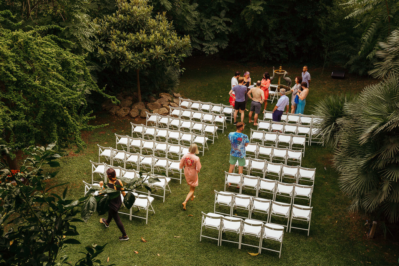 Wedding ceremony preparation at Villa Catalina Sitges