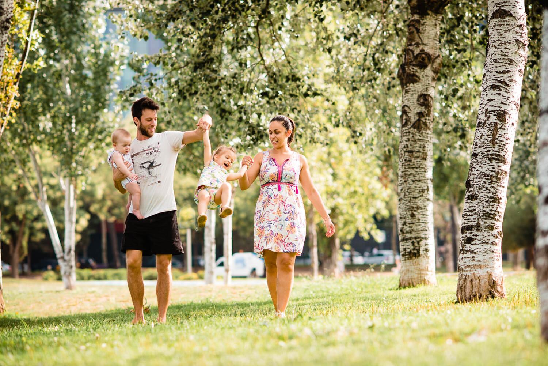 family portrait in park in Barcelona