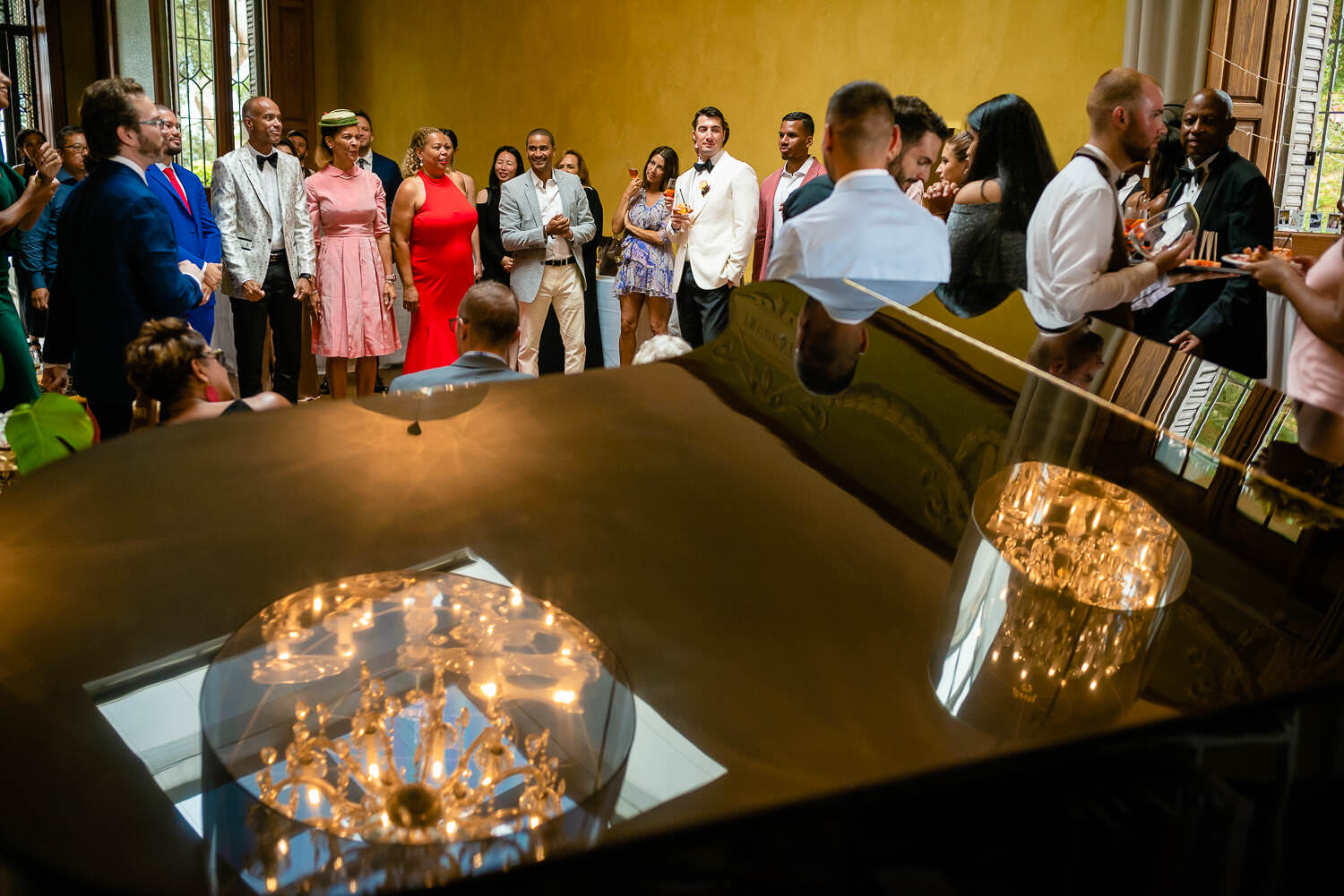 guests at the reception party on the wedding day in Biblioteca Almirall Barcelona
