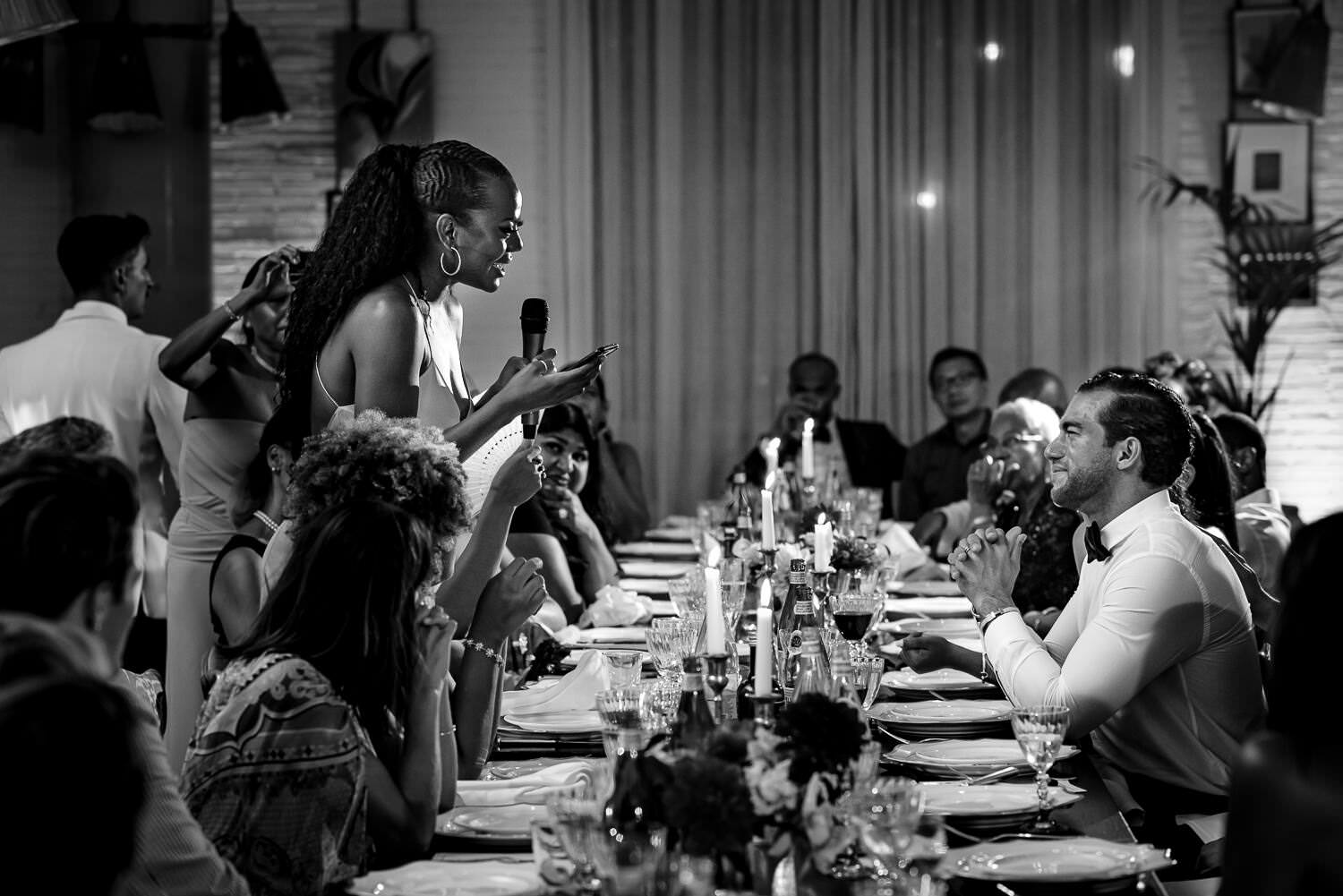 guest speeches during wedding dinner party at soho house barcelona