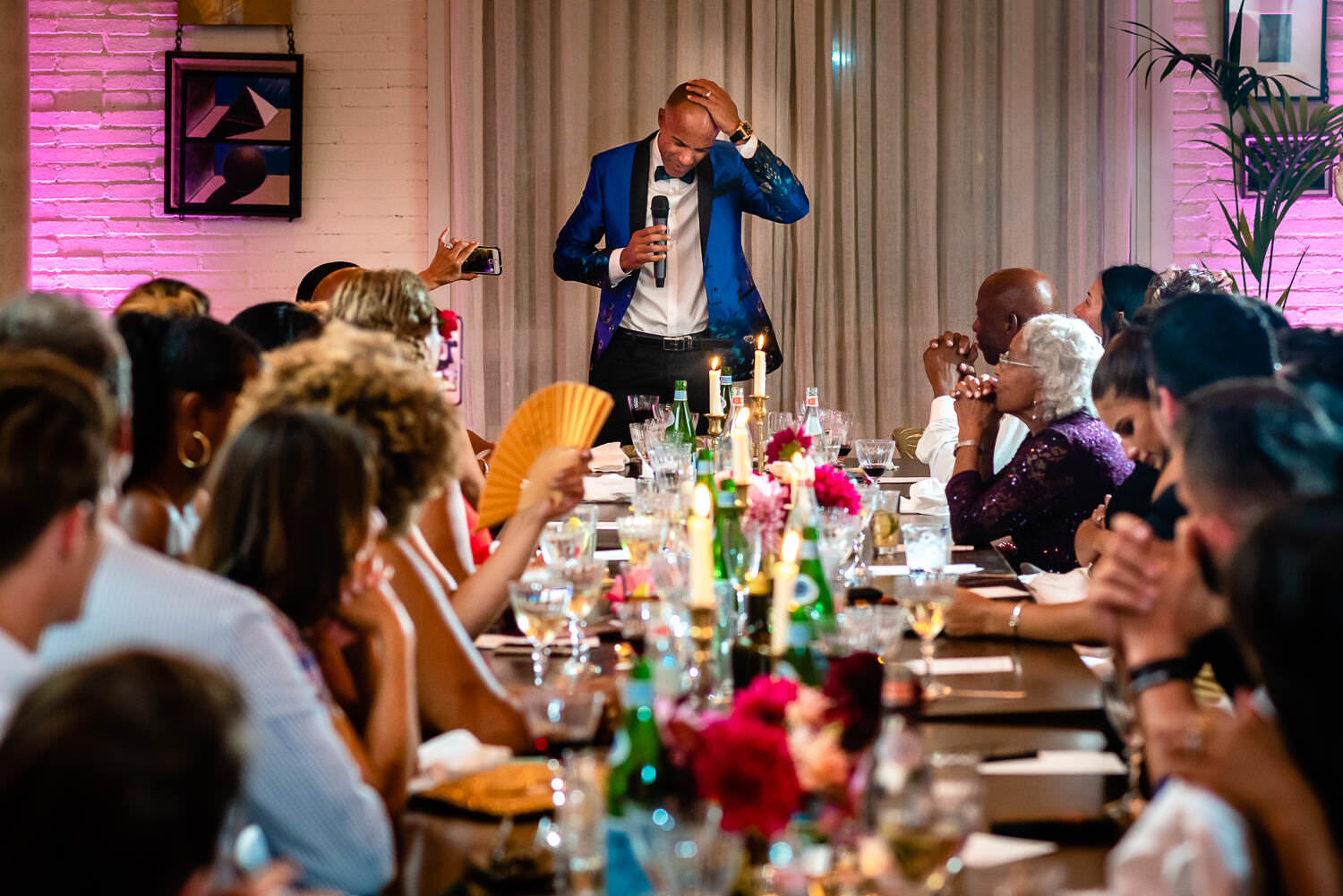 grooms father getting emotional during dad's speech at the dinner party at Soho House Barcelona