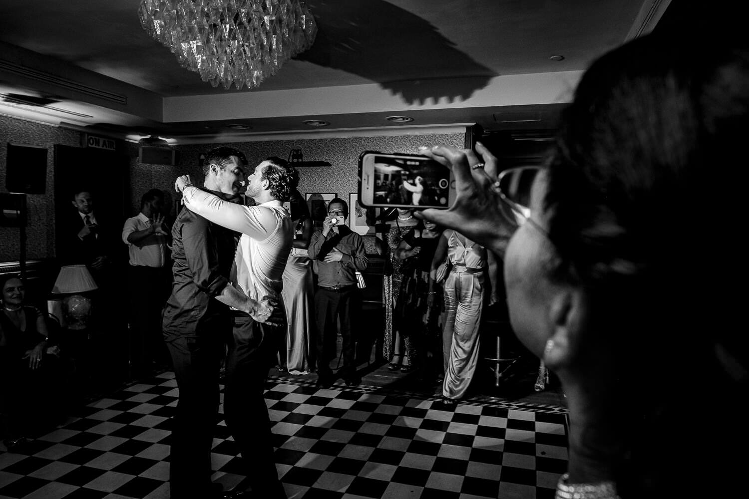 newlyweds first dance at wedding party in Soho House Barcelona