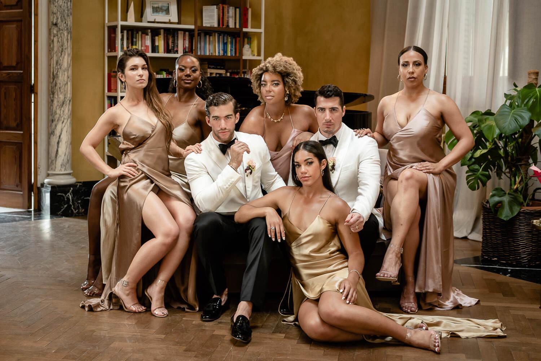 Group portrait same sex wedding Barcelona Biblioteca Almirall