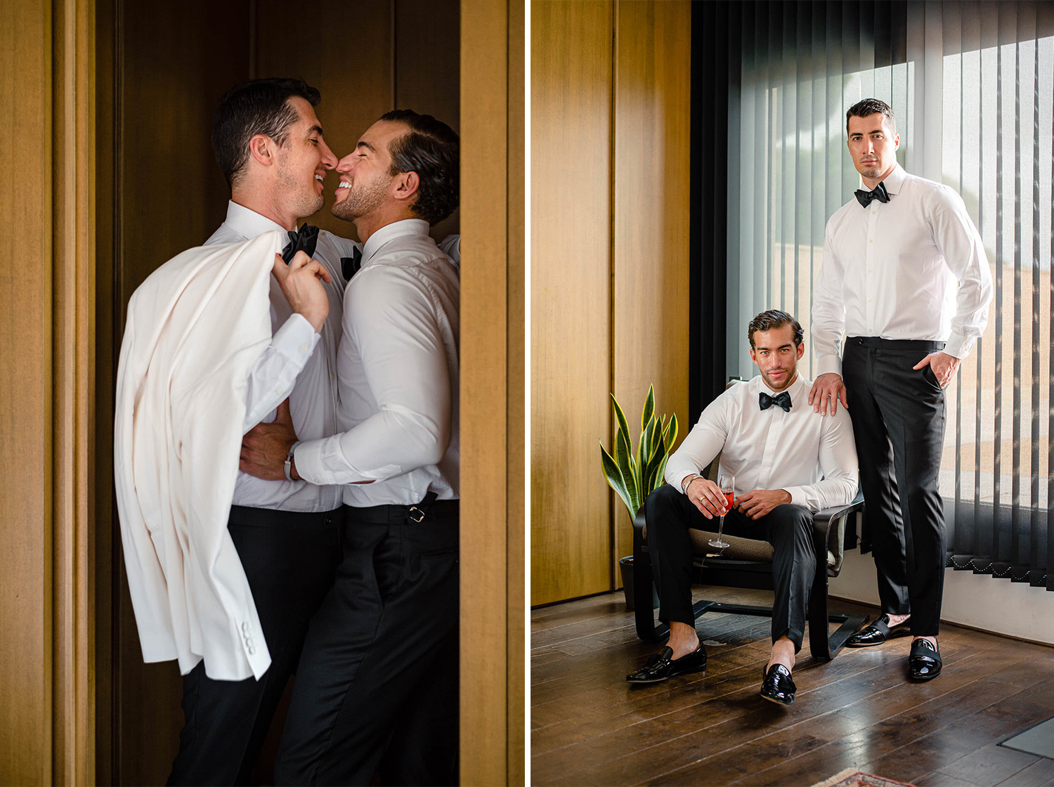Groom and Groom Couple Portrait during Gay Wedding in Biblioteca Almirall and Soho House Barcelona